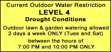 Current Outdoor Water Restrictions, Level Four Drought Conditions, outdoor watering only two days a