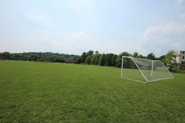 Soccer field with two white goals from top of field