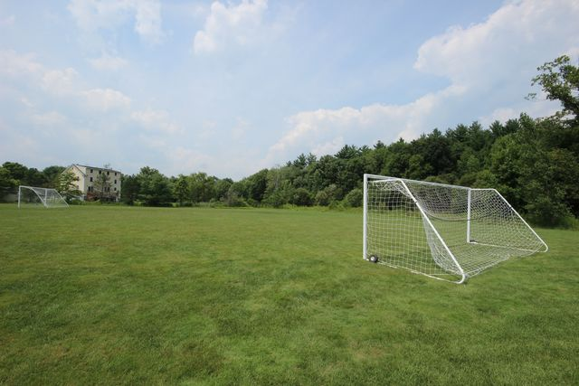 Soccer field with two white goals
