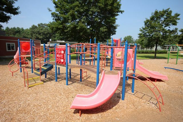 Red and blue jungle gym with slides