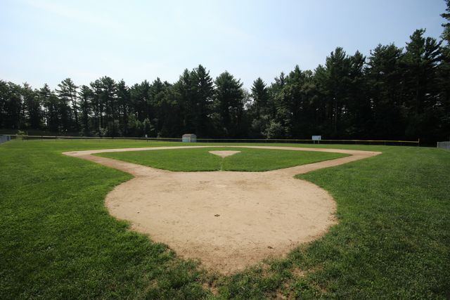 Tree lined baseball field
