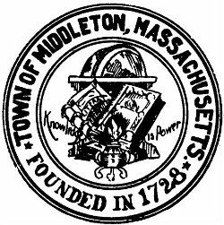 Round, black and white image of the town seal