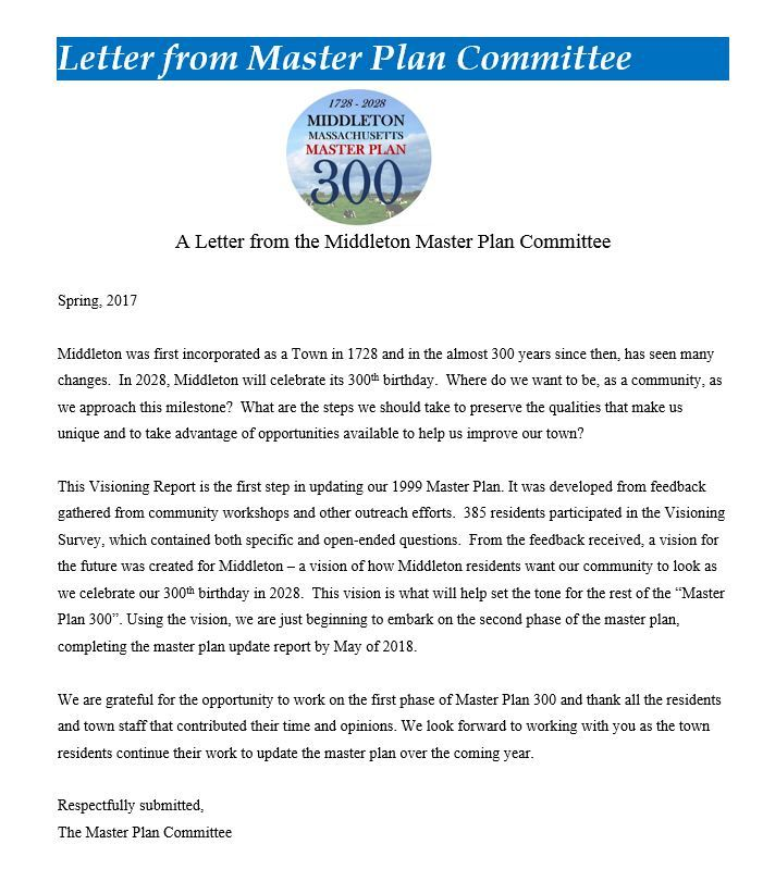 Letter from Master Plan Committee